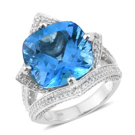 25.25 Ct Marambaia Topaz and Zircon Classic Ring in Platinum Plated Silver 15.85 Grams