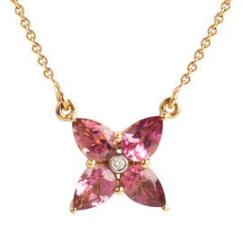 1.50 Carat AAA Pink Tourmaline and Diamond Pendant in 14K Gold 3 Grams