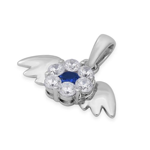 ELANZA Simulated Blue Sapphire and Simulated Diamond Angel Wings Theme Pendant in Rhodium Overlay Sterling Silver