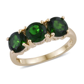 9K Yellow Gold Russian Diopside (Rnd 6mm) Trilogy Ring 3.000  Ct.