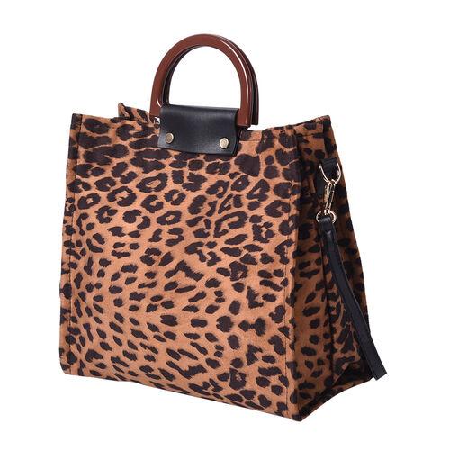Stylish Leopard Pattern Velvet Middle Size Tote Bag with Detachable and Adjustable Shoulder Strap (Size 30x11x28cm) - Brown