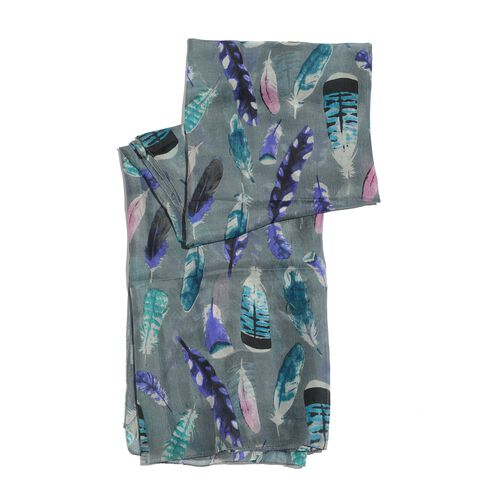 100% Mulberry Silk Multi Colour Feather Pattern Dark Grey Colour Scarf (Size 180x100 Cm)