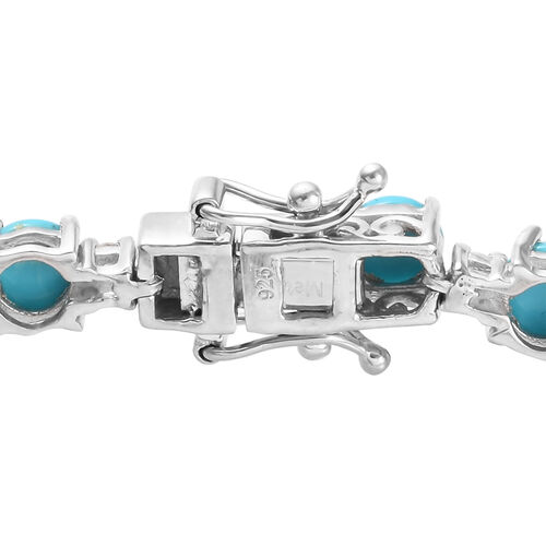 Arizona Sleeping Beauty Turquoise (Rnd), Natural Cambodian Zircon Elephant Bracelet (Size 7) in Platinum Overlay Sterling Silver 11.72 Ct, Silver wt 15.37 Gms