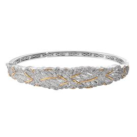 Diamond (Rnd) Bangle (Size 7.5) in Platinum and Yellow Gold Overlay Sterling Silver 2.00 Ct, Silver