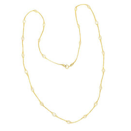 Monster Deal - Italian Made 9K Yellow Gold Cubic Zirconia Tuscan Crochet Necklace (Size 24)