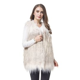 Designer Khaki and Brown Colour Faux Fur Vest (Size 70X52 Cm)