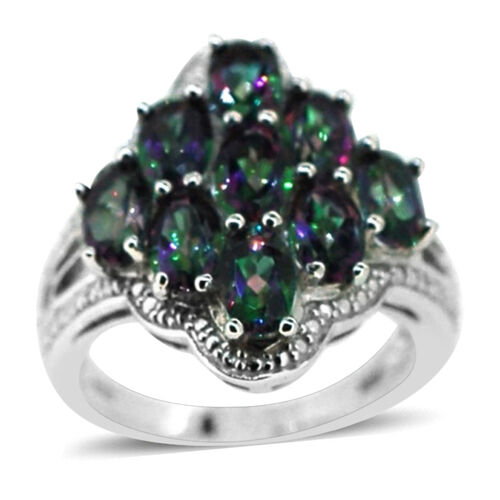 Northern Lights Mystic Topaz (Ovl) Ring in Rhodium Plated Sterling Silver 5.000 Ct.