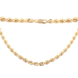 One Time Deal- 9K Yellow Gold Rope Necklace (Size 24), Gold wt 12.80 Gms
