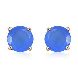 Namibian Blue Chalcedony 3.25 Ct Solitaire Silver Stud Earrings in Gold Overlay (with Push Back)