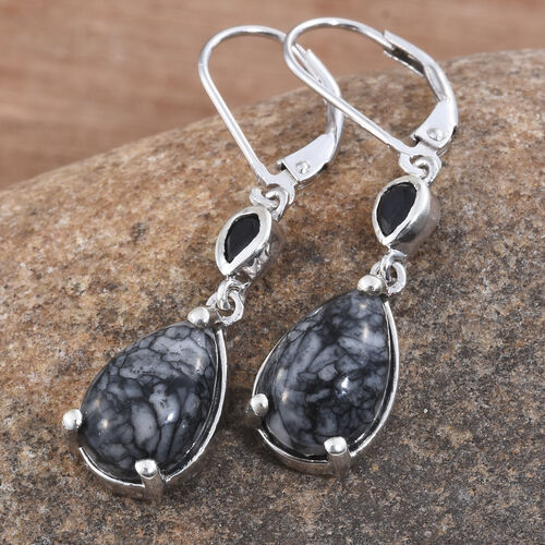 Austrian Pinolith (Pear), Boi Ploi Black Spinel Lever Back Earrings in Platinum Overlay Sterling Silver 7.500 Ct.