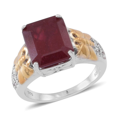 African Ruby (Oct 9.30 Ct), Natural Cambodian White Zircon Ring in Rhodium and Yellow Gold Overlay S