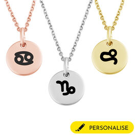 Personalise Engraved Initial and Zodiac Pendant in Silver