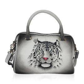 SUKRITI PERIMER Super Soft Genuine Leather Handprint RFID Protected Tiger Pattern Handbag with Detac