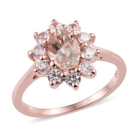 Marropino Morganite (Ovl), Natural Cambodian Zircon Ring in Rose Gold Overlay Sterling Silver 1.25 C