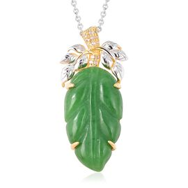 Carved Green Jade and Natural White Cambodian Zircon Pendant with Chain (Size 18) in Rhodium and Yel