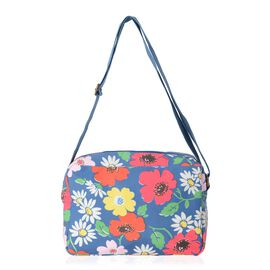 Water Resistant Blue and Multi Colour Floral Pattern Multi Pocket Crossbody Bag with Adjustable Shou