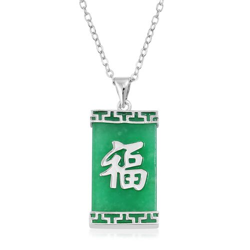 Green Jade (Bgt) Chinese Character FU (Good Fortune and Blessings) Pendant with Chain in Rhodium Plated Sterling Silver 13.750 Ct.