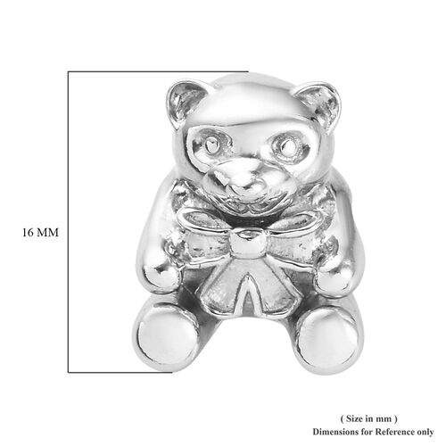 Charmes De Memoire - Platinum Overlay Sterling Silver Teddy Charm, Silver wt 3.00 Gms
