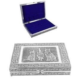 Close Out Deal- Teak Wood Cat Hand Crafted Aluminium Embossed 100 - Ring Box