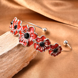 TJC Poppy Design - Black Austrian Crystal Enamelled Poppy Cuff Bangle (Size 6.5) in Silver Tone