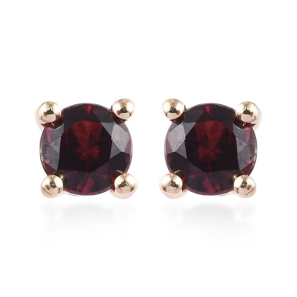 0.40 Ct Red Spinel Solitaire Stud Earrings in 9K Yellow Gold
