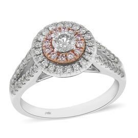 14K White and Yellow Gold Natural Pink Diamond and White Diamond (I1-I2/G-H) Ring 0.75 Ct, Gold wt 4