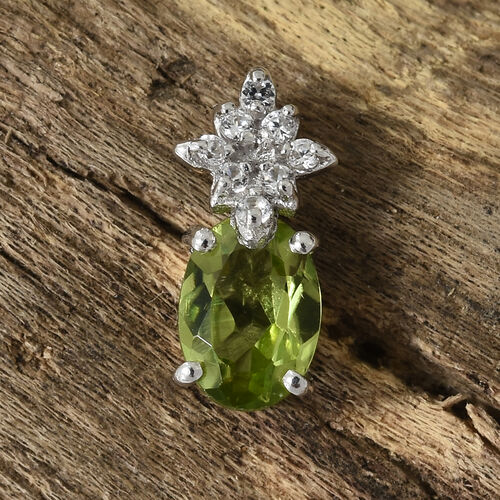 Hebei Peridot (Ovl), Natural Cambodian Zircon Pendant in Platinum Overlay Sterling Silver 1.000  Ct.