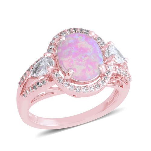 New Concept - Simulated Pink Opal (Oval), Simulated Diamond Ring in Rose Gold Bond