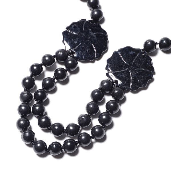 Flower Carved Black Jade and Shungite Beads Necklace (Size 20) in Rhodium Overlay Sterling Silver 447.50 Ct.