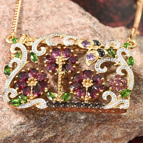 GP Rhodolite Garnet, Amethyst and Multi Gemstone Floral Necklace with Chain (Size 18) in 14K Gold Overlay Sterling Silver 9.000 Ct, Silver wt. 12.69 Gms.