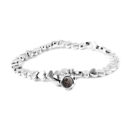Antique Silver Plated Stretchable Heart Bracelet (Size 6.75) with Charm