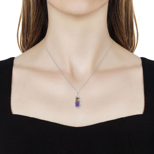 Natural Anahi Ametrine (Bgt), Natural White Cambodian Zircon Pendant with Chain in Platinum Overlay Sterling Silver 6.00 Ct