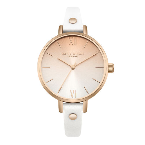 Daisy Dixon Hattie White Skinny Strap With Stud Embellishment & Graduated Ombre Dial Ladies Watch