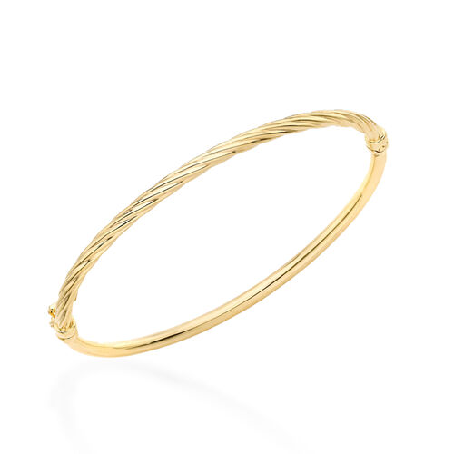 Limited Edition- Close Out 9K Yellow Gold Half Twisted Bangle (Size 7.25), Gold wt 3.07 Gms