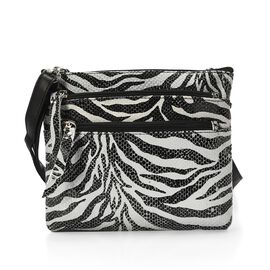 Close Out Deal 100% Genuine Leather Zebra Print Cross body Bag (Size 21x18 Cm)