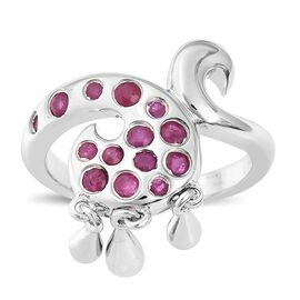 LucyQ 0.47 Ct African Ruby Drip Ring in Rhodium Plated Sterling Silver