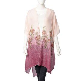 Designer Inspired- Floral Pattern Embroidery Kimono (Size 90x90 Cm) - Light Peach and Purple Colour