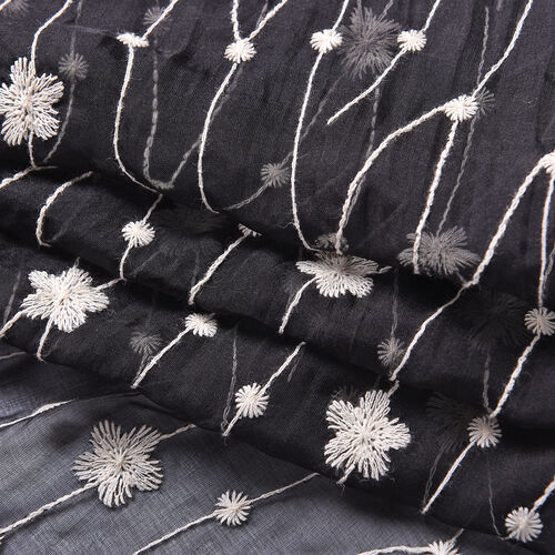 LA MAREY 100% Mulberry Silk Flower Vine Embroidery Pattern Scarf in Black (180x58cm)
