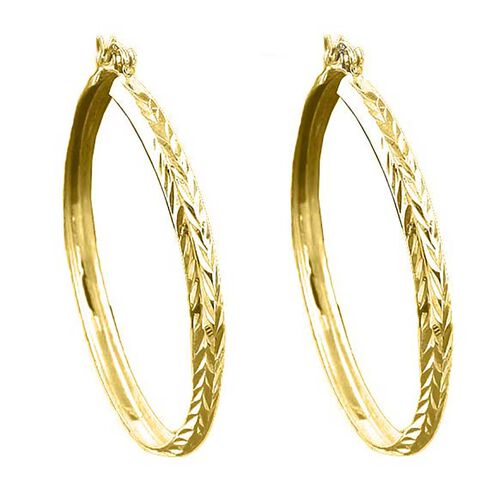 14K Gold Overlay Sterling Silver Hoop Earrings (with Clasp Lock), Silver wt 3.60 Gms