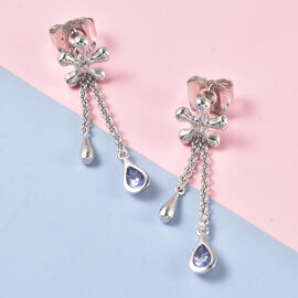 LucyQ Splash Collection Tanzanite Earrings (with Push Back) in Rhodium Overlay Sterling Silver