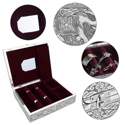 3D Embossed Collection Handcrafted Elephant Oxidised Jewellery Box (Size 28x22.8Cm) with Mirror and Velvet Interior