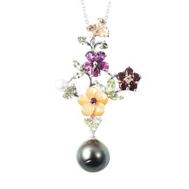 Jardin Collection - Baroque Tahitian Pearl, Yellow Mother Of Pearl and Multi Gemstone Pendant With C
