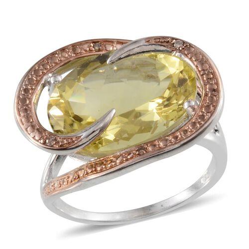 Brazilian Green Gold Quartz (Ovl 10.00 Ct), Yellow Diamond Ring in Platinum Overlay Sterling Silver 10.030 Ct.