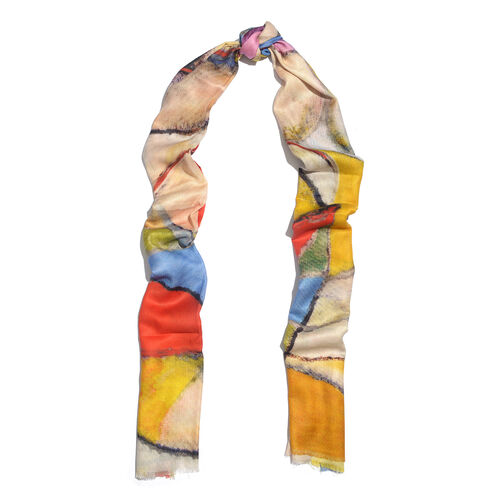 100% Modal Red, Yellow and Multi Colour Digital Printed Scarf (Size 200x70 Cm)