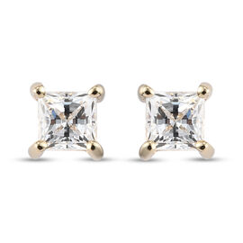 J Francis 9K Yellow Gold Stud Earrings (with Push Back) Made with SWAROVSKI ZIRCONIA