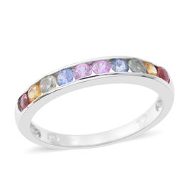 Rainbow Sapphire (Rnd) Half Eternity Band Ring in Rhodium Plated Sterling Silver 1.000 Ct.
