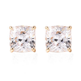 J Francis Yellow Gold Overlay Sterling Silver Stud Earrings (with Push Back) Made with SWAROVSKI ZIR