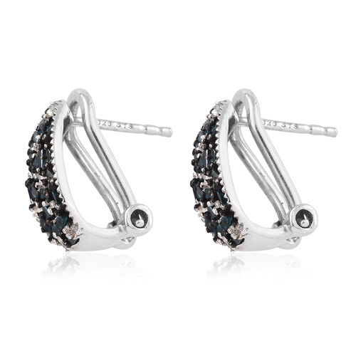 Blue Diamond (Bgt), White Diamond Earrings (with Omega Clip) in Platinum Overlay Sterling Silver 0.505 Ct.
