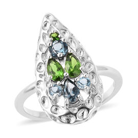 RACHEL GALLEY Misto Collection - AA London Blue Topaz and Russian Diopside Ring in Rhodium Overlay S
