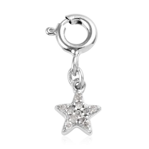 Diamond (Rnd) Star Charm in Platinum Overlay Sterling Silver 0.05 Ct.